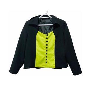 Vtg 90s ColorBlock Tuxedo Style Blazer Neon Green